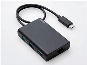 エレコム 有線LANアダプタ/Giga対応/USB3.0/Type-C/USBハブ付/ブラック EDC-G・・・