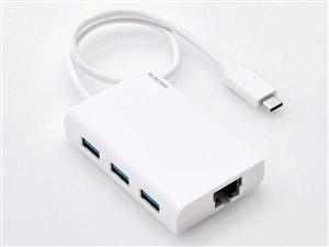 エレコム 有線LANアダプタ/Giga対応/USB3.0/Type-C/USBハブ付/ホワイト EDC-G・・・