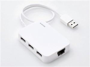 エレコム 有線LANアダプタ/USB2.0/Type-A/USBハブ付/ホワイト EDC-FUA2H-W