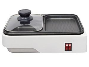 オーム電機 【鍋料理と焼き料理を一度に】2WAYプレート COK-YH100B-W