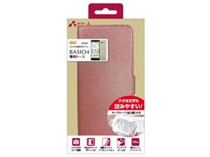 エアージェイ BASIO4 シャイニー手帳型ケース PK スマホルーペ付 AC-BASIO4-S・・・