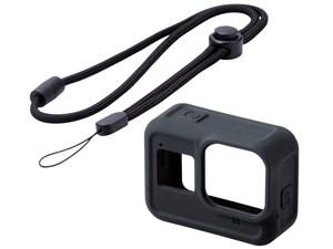 エレコム GoPro HERO8 シリコンケース 衝撃吸収 ネックストラップ付 AC-GP8BZ・・・